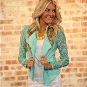 Material Girl Long Sleeved Teal Lace Moto Jacket